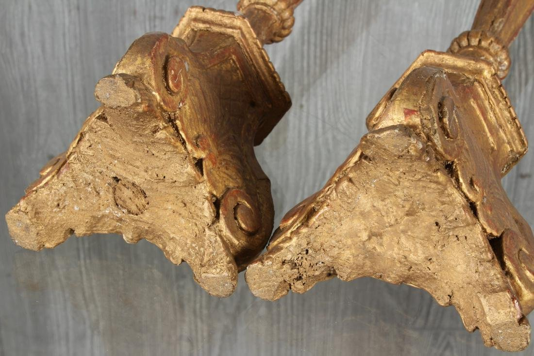 Pair Continental Gilt Wood Prickets - 3