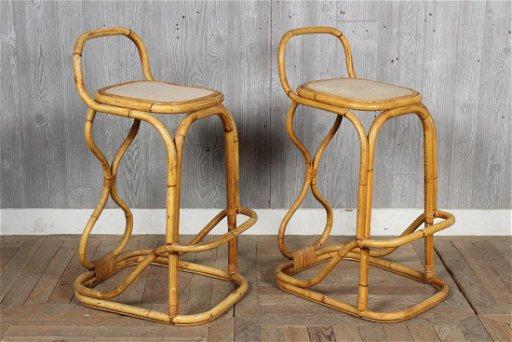 Terrific Pair Of Vintage Rattan Bar Stools Inzonedesignstudio Interior Chair Design Inzonedesignstudiocom