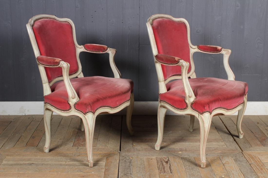 Pair Louis XV Style Carved and Painted Armchairs