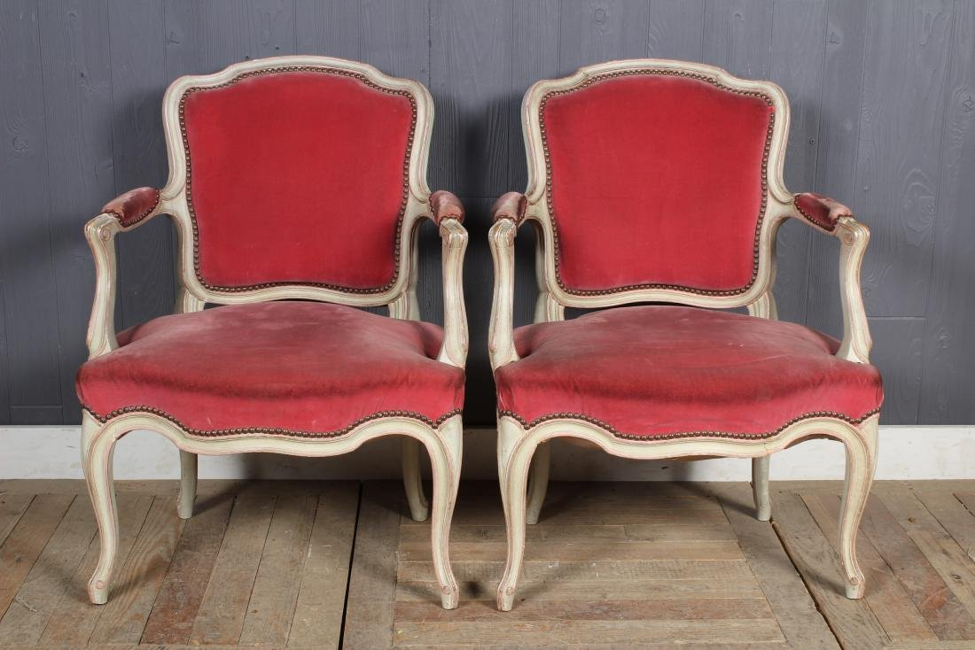 Pair Louis XV Style Carved and Painted Armchairs - 2