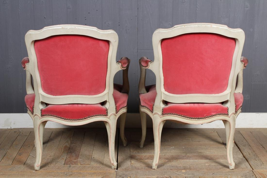 Pair Louis XV Style Carved and Painted Armchairs - 3