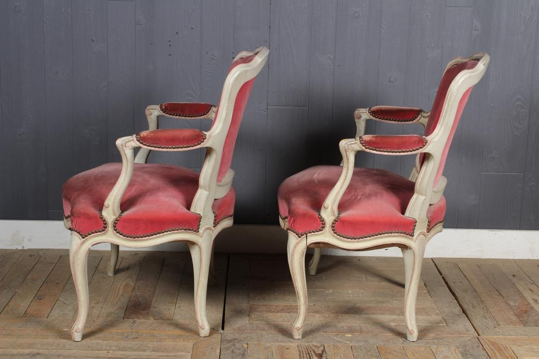 Pair Louis XV Style Carved and Painted Armchairs - 4