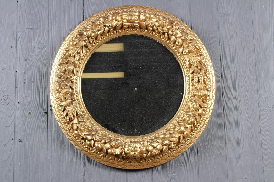 Continental Carved Giltwood Porthole Mirror