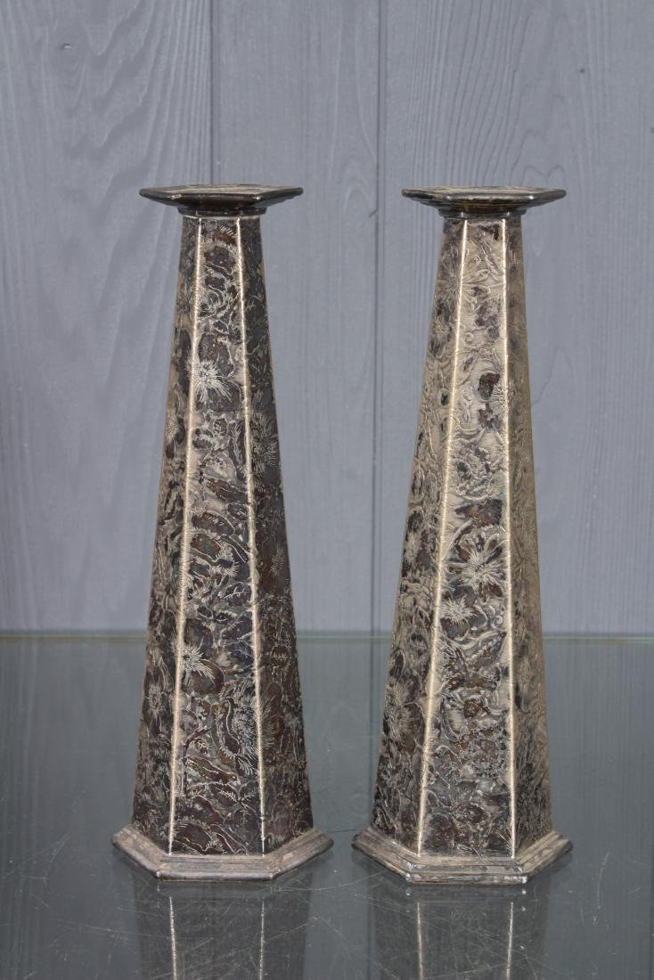 Pair Weidlich Brothers Silver Plate Candlesticks