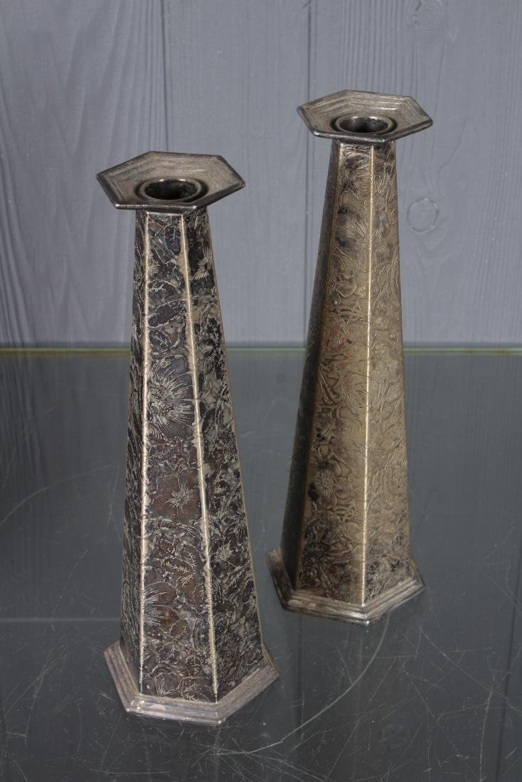 Pair Weidlich Brothers Silver Plate Candlesticks - 2