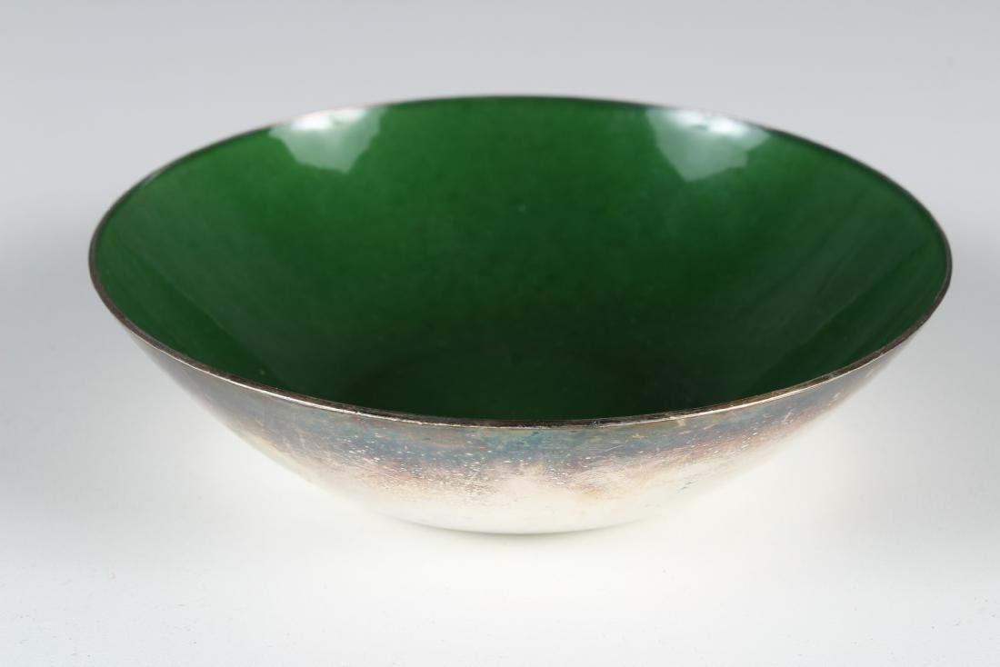 J. Tostrup Sterling and Green Enamel Bowl
