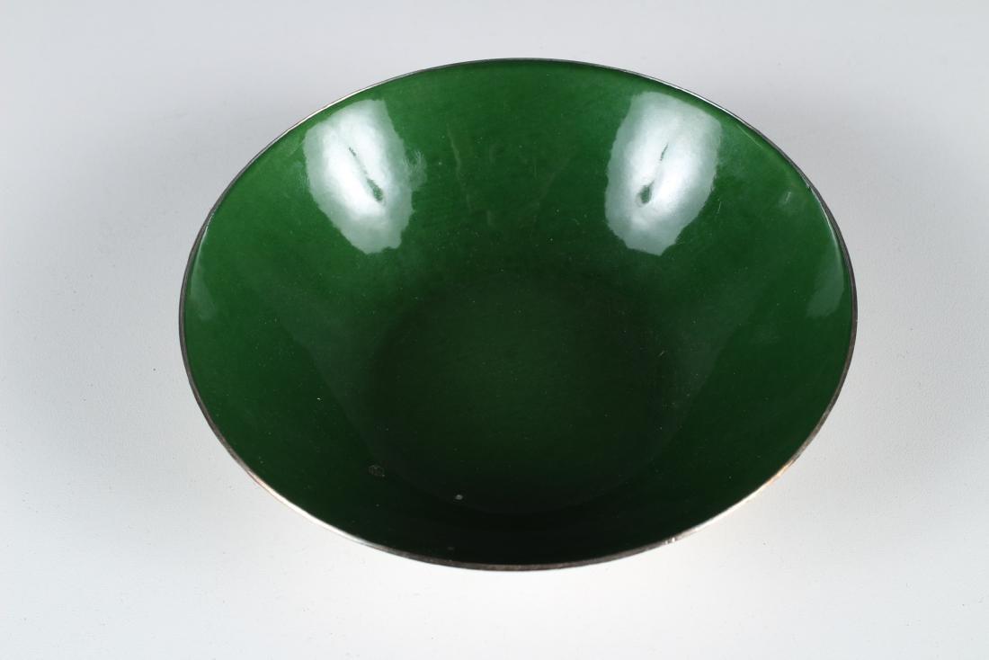 J. Tostrup Sterling and Green Enamel Bowl - 2