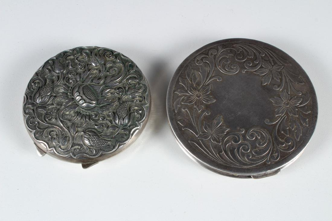 Two Silver Vintage Compacts