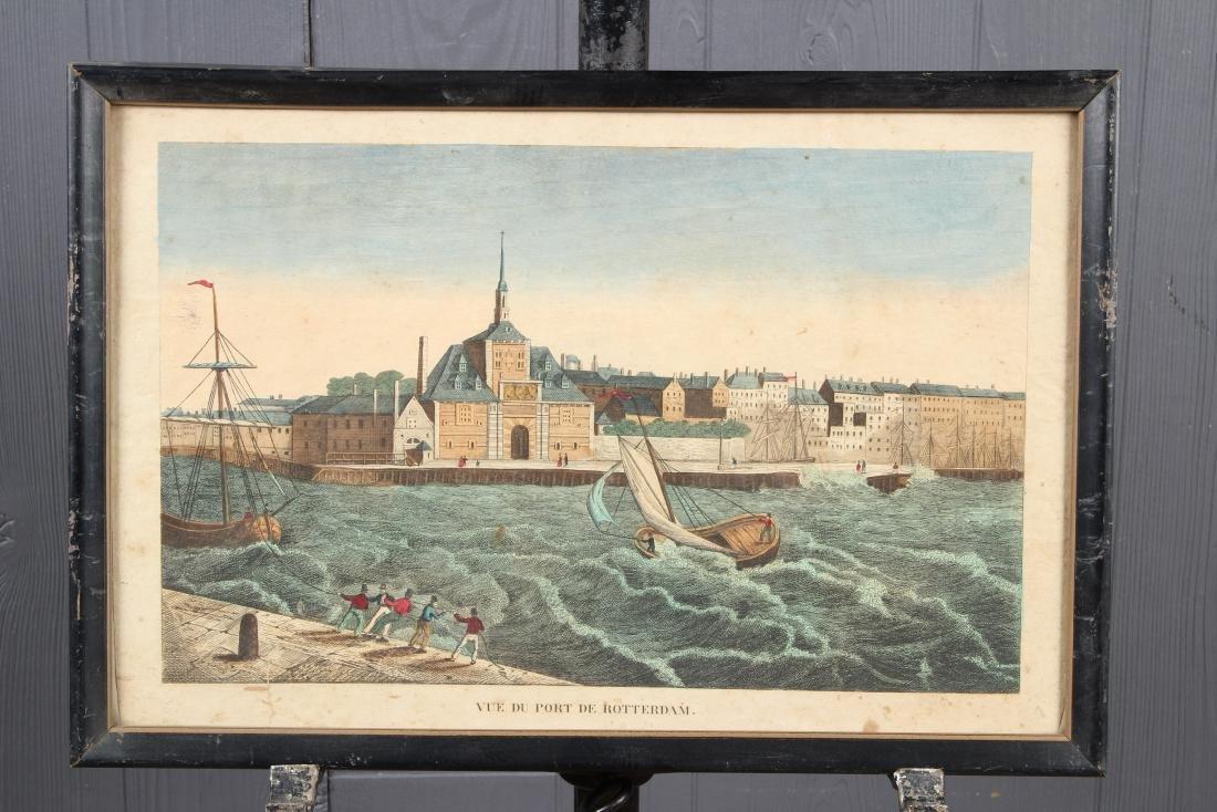 Vue Du Port De Rotterdam Chromolithograph