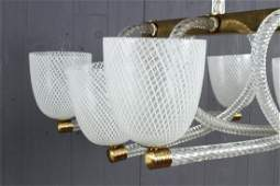 Vintage Murano Latticino Glass 6 Globe Chandelier