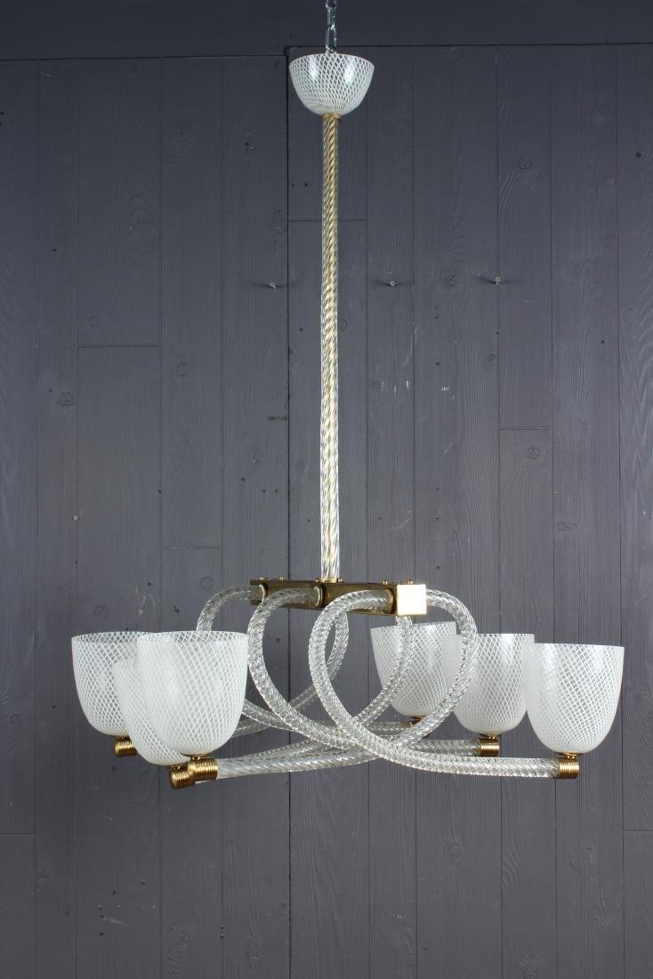 Vintage Murano Latticino Glass 6 Globe Chandelier - 2