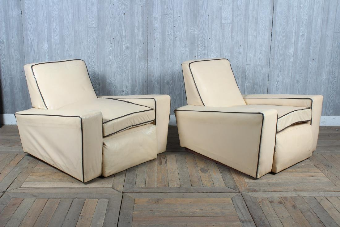 Pair Art Deco Style Upholstered Club Chairs