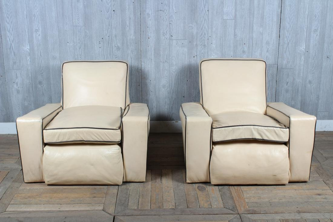 Pair Art Deco Style Upholstered Club Chairs - 2