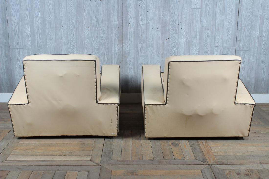 Pair Art Deco Style Upholstered Club Chairs - 3