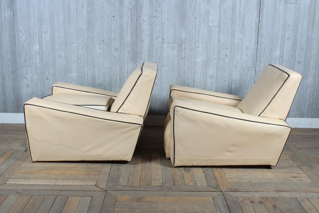 Pair Art Deco Style Upholstered Club Chairs - 4