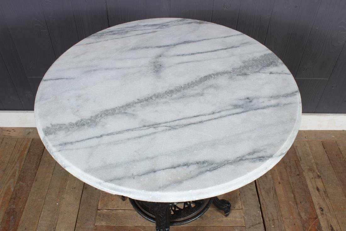 Cast Iron Marble Top Pub Table - 2