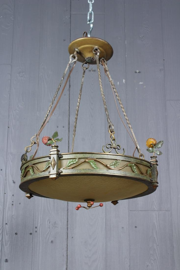 Polychrome Bronze & Glass Empire Style Chandelier