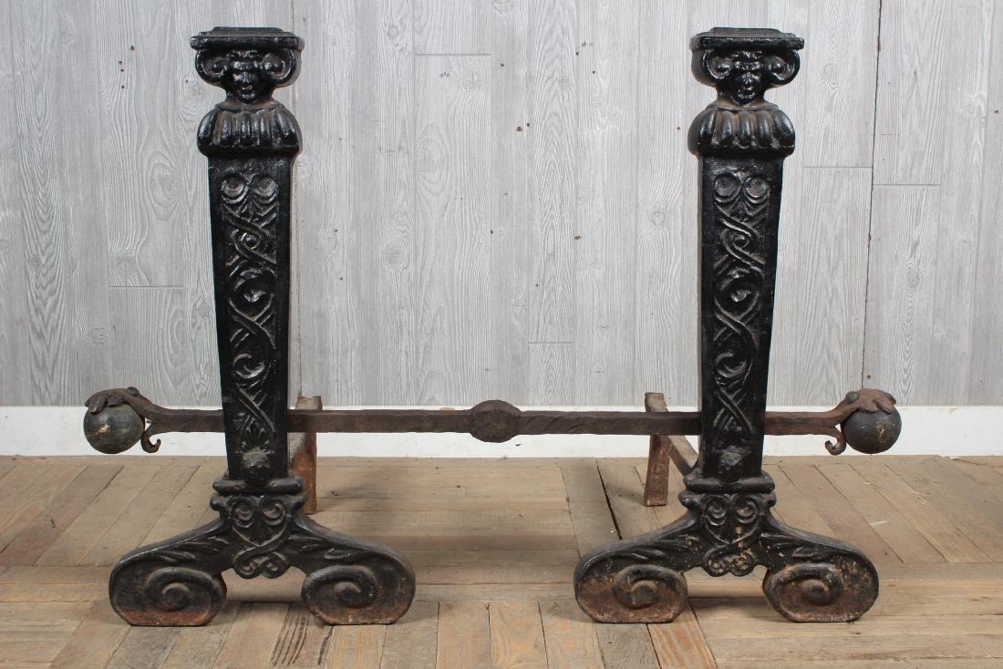 Monumental Pair Antique Cast Iron Andirons