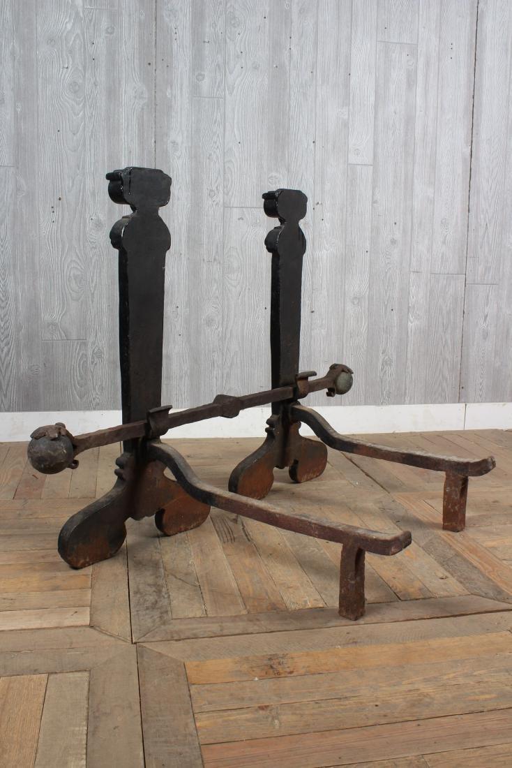 Monumental Pair Antique Cast Iron Andirons - 4