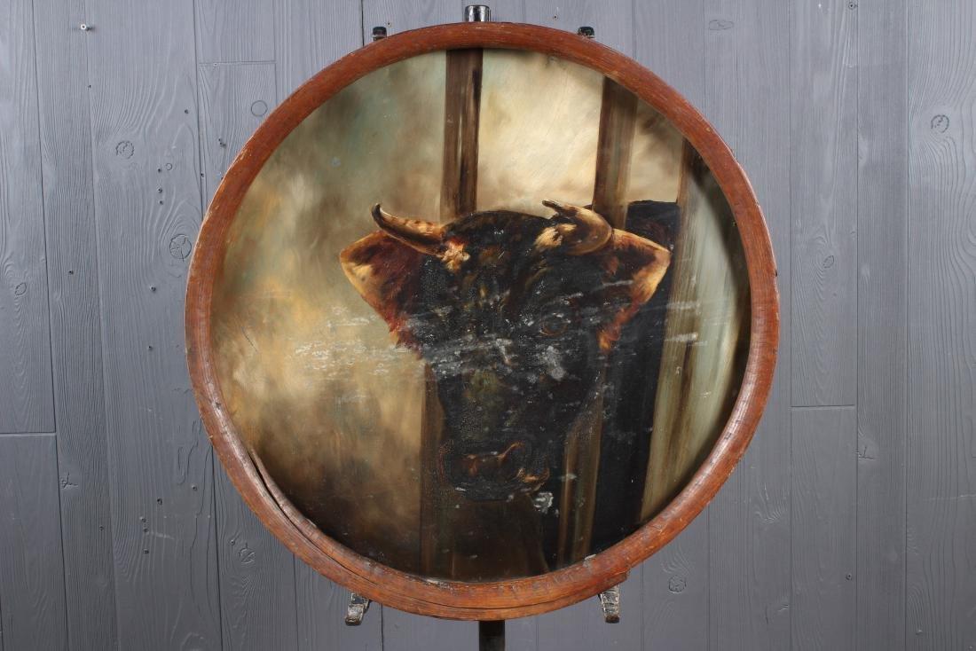 Folk Art Barrel Head Steer Painting