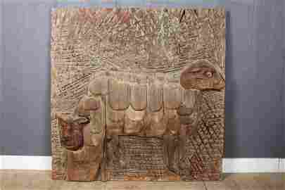 Bernard Langlais Sheep Carved Wood Panel