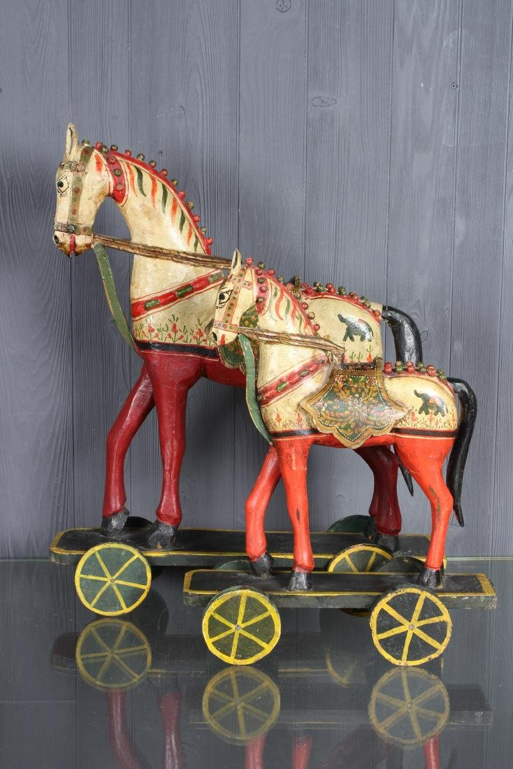 Pair Carved and Painted Indian Horse Pull Toys