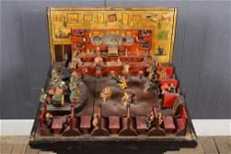1940's Ceramic and Wood Bar Room Diorama
