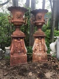 Good Pair of Monumental Cast Iron Garden Urns