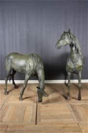 Very Good Pair of Near Life Sized Bronze Horses