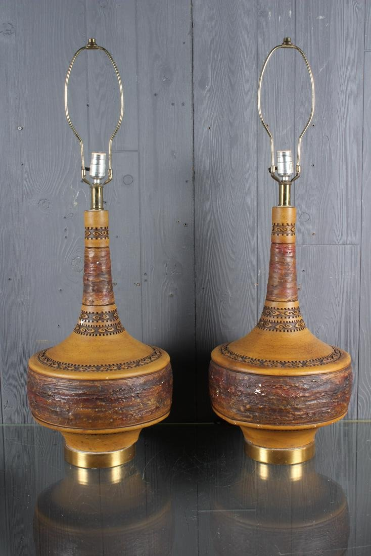 Pair Mid C. Modern Decorated Ceramic Table Lamps