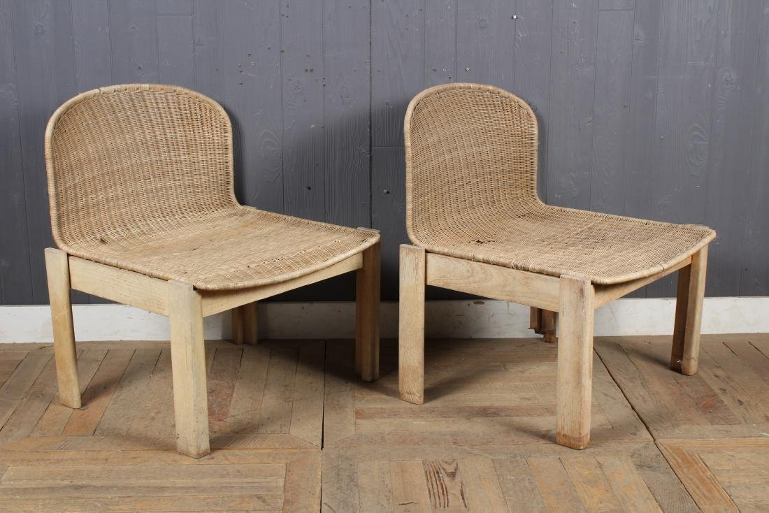 Pair French MCM Wicker and Wood Chairs