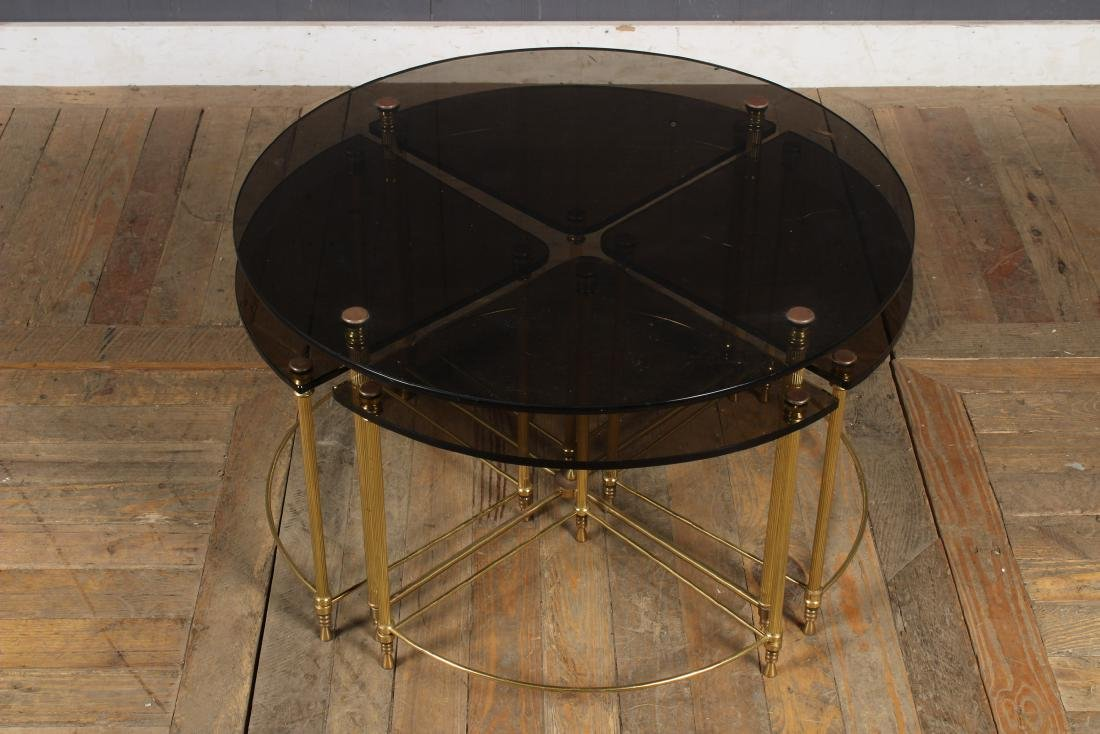 Mid Century Modern Brass & Glass Coffee Table and