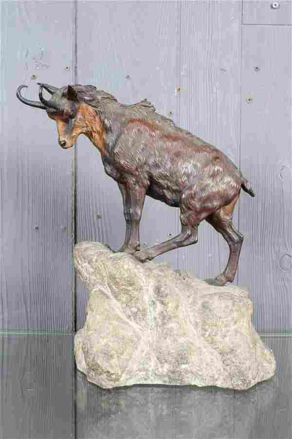 Vienna Style Cold Painted Bronze Ram on Rock