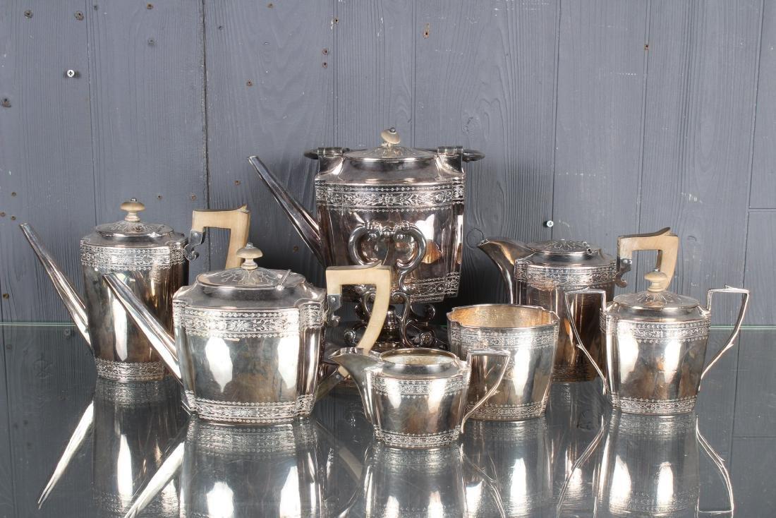 7 Pc  Art Deco Silver Plate Coffee and Tea Service