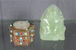 Carved Jade Seated Buddha and Jeweled Box