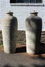 Pair Monumental Concrete Urn Form Jars