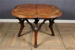 Antique Continental Burl Clover Leaf Table