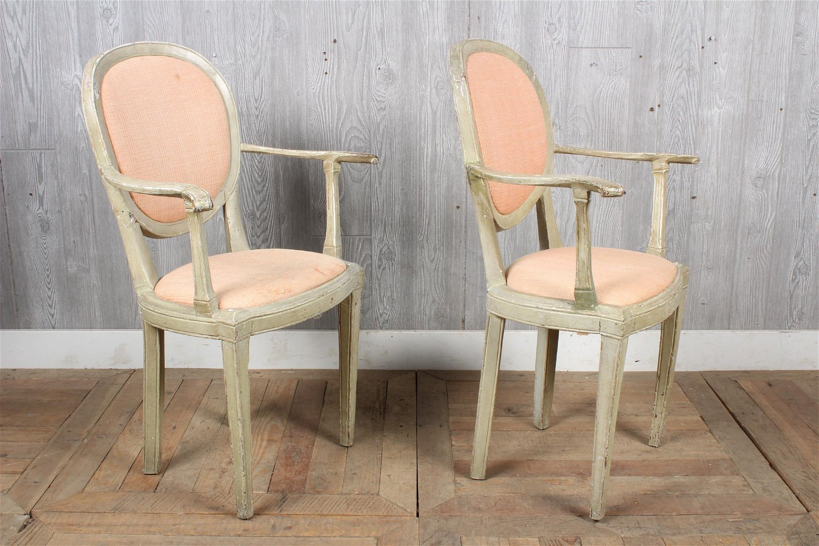 Pair Petite French Painted Armchairs