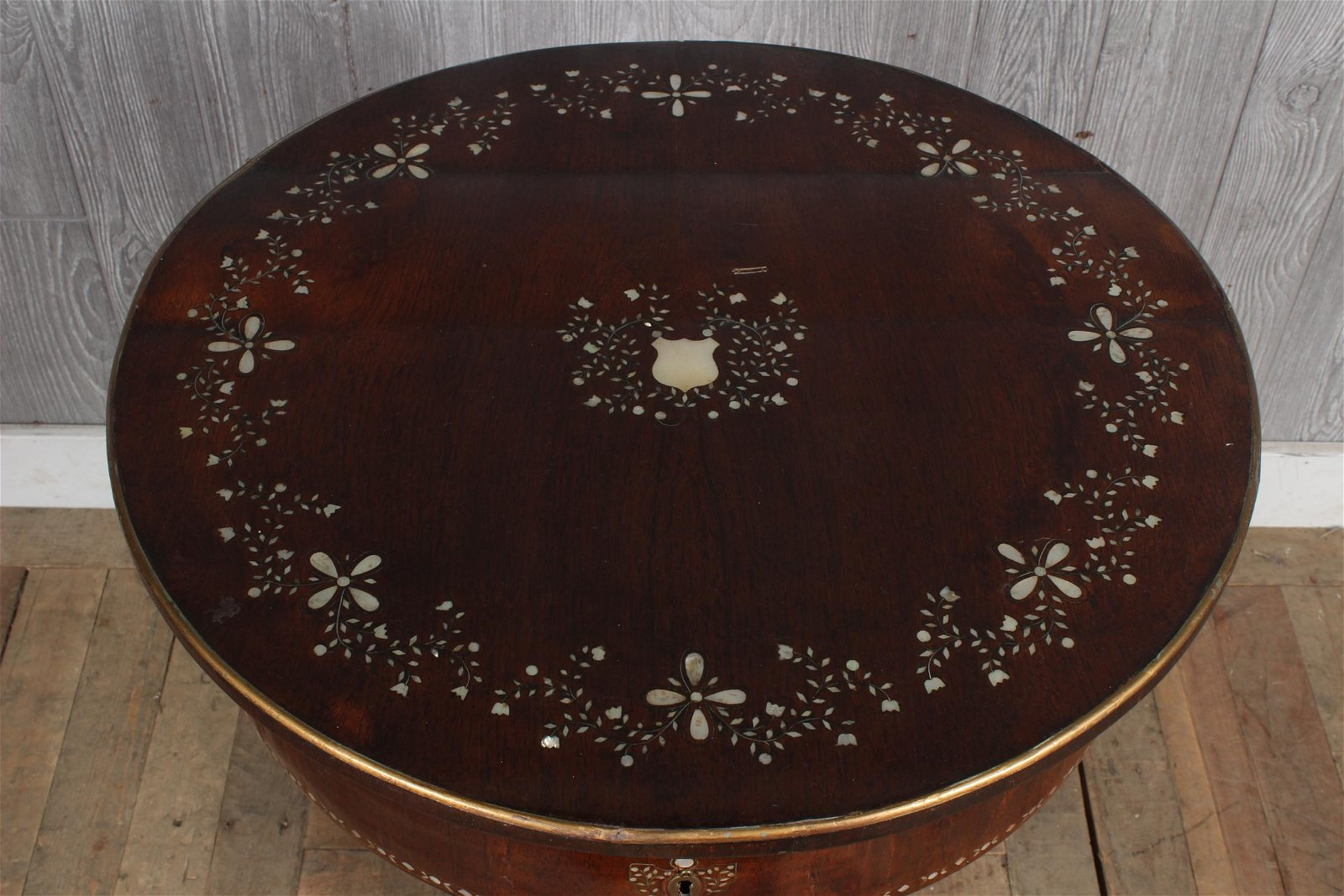 Antique Mother of Pearl Inlay Sewing Stand