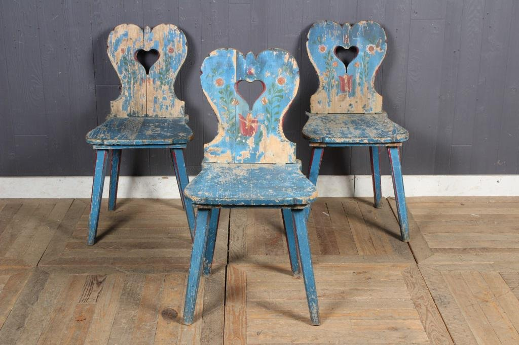 3 Paint Decorated Scandinavian Rustic Style Chairs