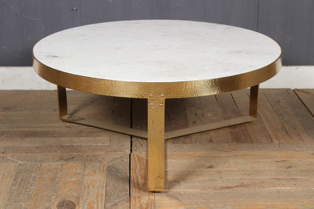 Modern Hammered Brass Finish MT Coffee Table