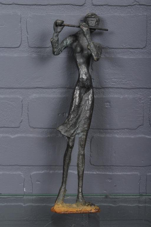 Modernist Bronze Sculpture Woman Playing the Flute