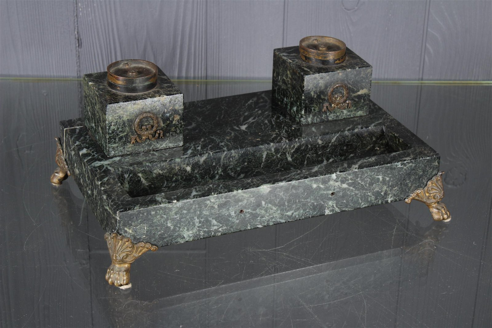 Bronze Mounted Marble Standish
