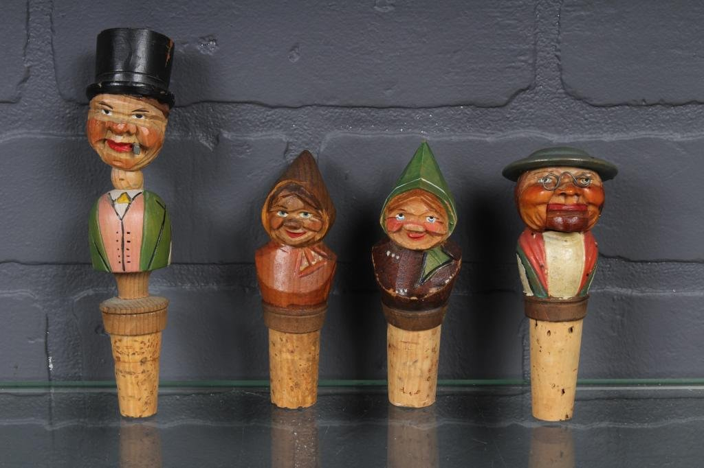 Carved Wood Figural Bottle Stoppers