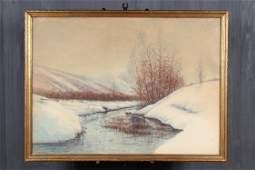 Raphael Senseman Snowy Landscape Watercolor