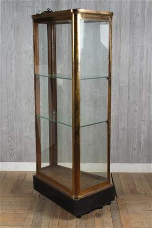 Bronze and Glass Wedge Shaped Vitrine