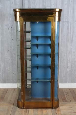 Early 20th C. Bronze and Glass Corner Form Vitrine