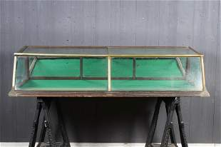 Vintage Nickel and Glass Countertop Display Case