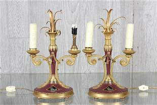Pair Empire Style Gilt Bronze Candelabra Lamps