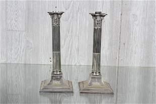 Pr Silver Plate Corinthian Column Candlesticks